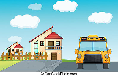 a school bus and building - illustration of a school bus and...