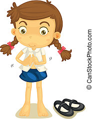 a girl in school uniform - illustration of a girl in school...
