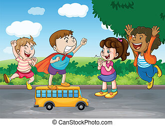 kids and toy bus - illustration of kids and toy bus in...