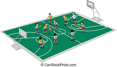 boys playing basket ball - illustration of boys playing...