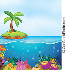coral and palm tree on island - illustration of coral in...