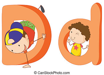 Kids in the letters series - Illustration of children in a...