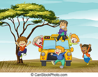 kids and school bus - illustration of kids and school bus in...