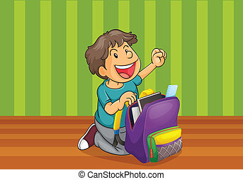 a boy with schoolbag - illustration of a boy with school bag