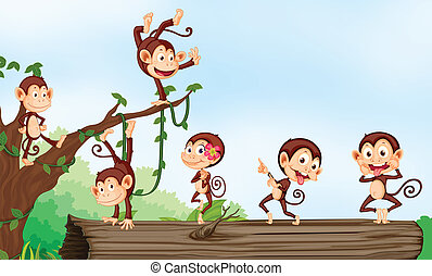 a group of monkeys - illustration of group of monkeys and...
