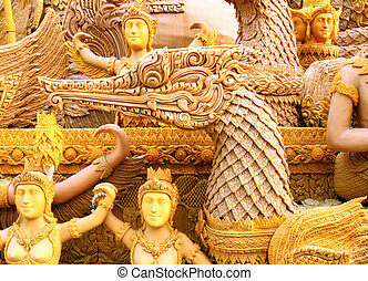 swan carving candle festival - swan Thai texture carving...