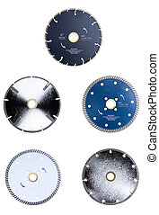 Saw Blades Isolated - Collection of isolated diamond tipped...