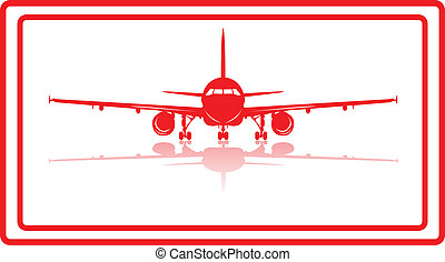 Aeroplane. - A commercial airplane in red silhuette.