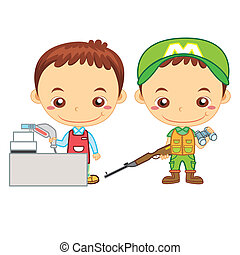 kids and jobs17 - A cashier and a hunter isolated on white...