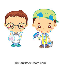 kids and jobs18 - A painter and a scientist isolated on...