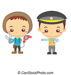 kids and jobs19 - A traffic policeman and a hairdresser...