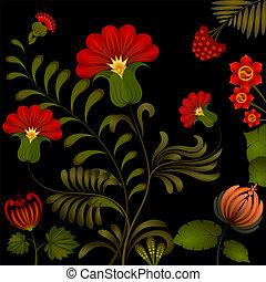 Petrikov painting. Traditional Ukrainian national floral...