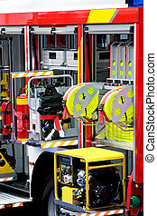 Fire engine detail - Fire engine truck with lot of equipment...