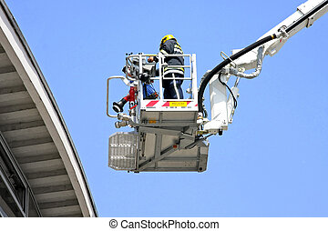 Fire fighter platform - Fire fighter in big and tall crane...