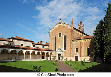 San Bernardino church in Verona in a bright sunny day. Angle...