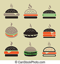 Hamburger2 - Set of icons a hamburger. A vector illustration