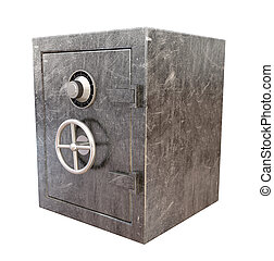 Metal Safe Perspective - A regular metal safe with a...