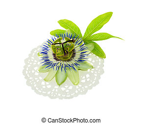 passionflower on a napkin with leaf