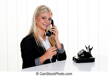 woman with antique phone