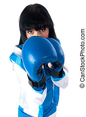 Pretty girl with boxing gloves - Young woman with boxing...