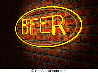 Neon Beer Sign on A Face Brick Wall - An illuminated orange...