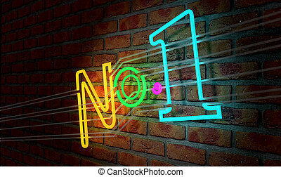 Neon Number One Sign On A Face Brick Wall - An illuminated...