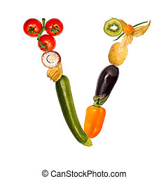 The letter v in various fruits and vegetables - The letter...