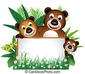 funny brown bear family - vector illustration of funny brown...