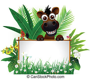 funny brown horse with blank sign - vector illustration of...