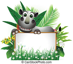 funny rhino with blank sign