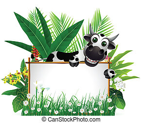 funny cow with blank sign - vector illustration of funny cow...