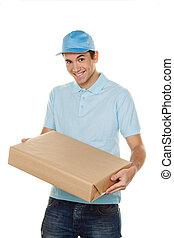messenger of messenger service delivers parcel - a messenger...