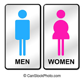 Colored Man & Woman restroom sign on white