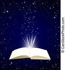 Open book magic on night sky background - Education concept