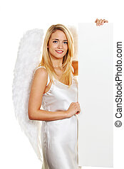 angel for christmas with an empty board