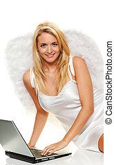 angel for christmas with laptop