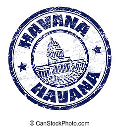 Havana stamp - Grunge rubber stamp with the name of Havana...