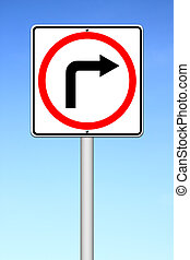 Traffic sign show the turn right