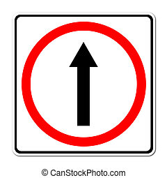 go ahead the way ,forward sign on white