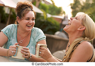 Girlfriends Enjoy A Conversation - Two Girlfriends Enjoy A...