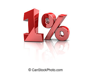 one percent - 3d illustration of 1 percent sign, over white...