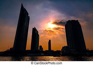 Skyscrapers in Bangkok at sunset