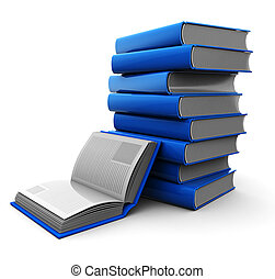 Blue books - Education concept, blue books isolated on a...