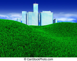 city - 3d illustration of green meadow with modern city at...