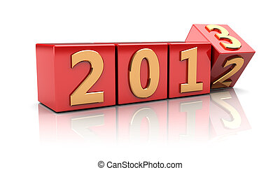 Sign new year - Red cubes with number 2012 change on 2013