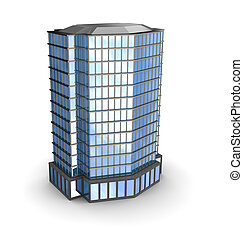Business city over white background, 3d illustration