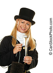 chimney sweep. - woman as a chimney sweep. lucky new year's...