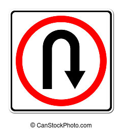 Turn back road sign on white background