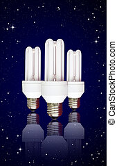compact florescent light bulb on night sky background