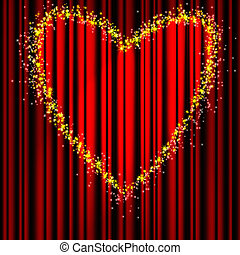 Heart red theater curtain - Heart Valentine's Day red...